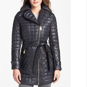 Via Spiga Asymmetric Quilted Black Coat